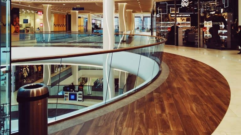 A combination of floor finishes in a shopping centre