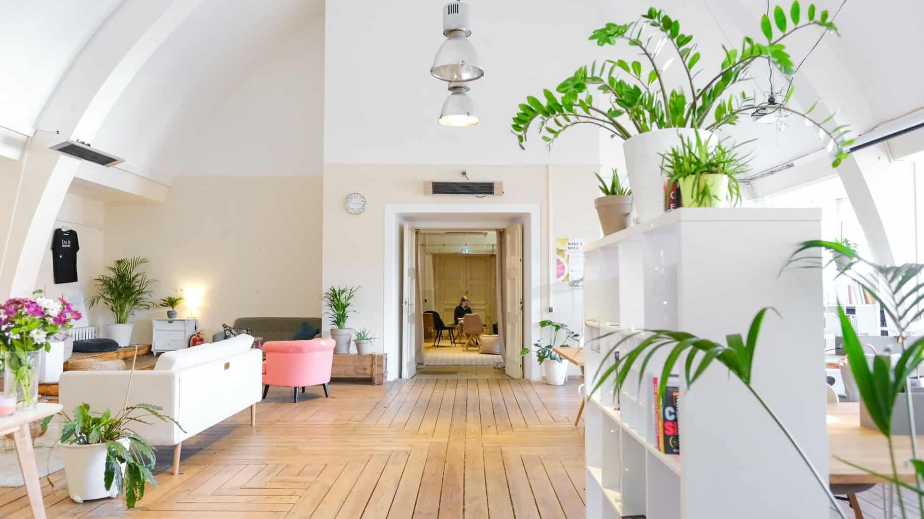 Large living space with a timber floor